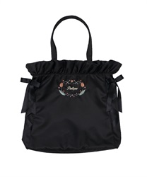 Embroidered satin tote bag(Black-M)
