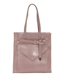 Tote bag with front pocket(Pale pink-M)
