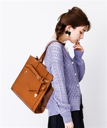 Tote bag with front pocket(Brown-M)