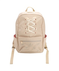 Sized Backpack with High Laced and Cherry Embroidery Decoration(Beige-M)
