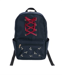 Sized Backpack with High Laced and Cherry Embroidery Decoration(Navy-M)