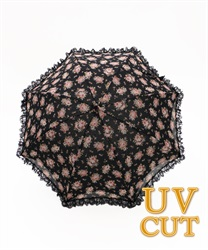 Rose Motif dome rain or shine combined length umbrella A(Black-M)