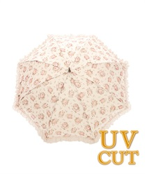 Rose Motif dome rain or shine combined length umbrella B(Pale pink-M)