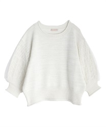 Tulle×lame knit pullover(Ecru-Free)
