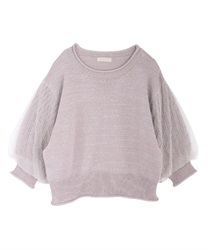 Tulle×lame knit pullover(Pale pink-Free)