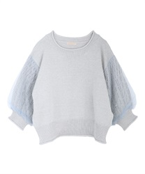 Tulle×lame knit pullover(Saxe blue-Free)