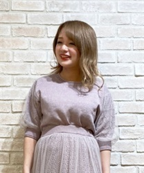 Tulle×lame knit pullover
