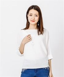 Dolman Knit Pull with Necklace(White-Free)