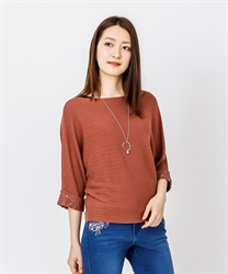 Dolman Knit Pull with Necklace(DarkPink-Free)