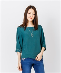 Dolman Knit Pull with Necklace(Green-Free)