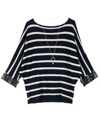 Dolman Knit Pull with Necklace(Black-Free)