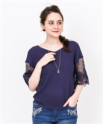 2 way sleeve lace knit(Navy-Free)