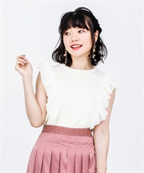 Frilled Shoulder Knit PO(Ecru-Free)