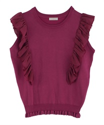 Frilled Shoulder Knit PO(DarkPink-Free)