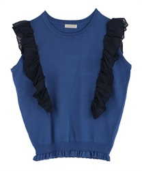Frilled Shoulder Knit PO(Blue-Free)