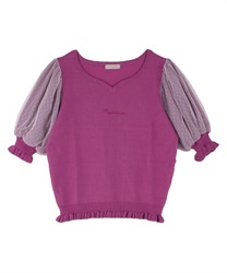 Heart Neck Knit Pullover(Purple-Free)