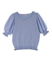 Heart Neck Knit Pullover(Saxe blue-Free)