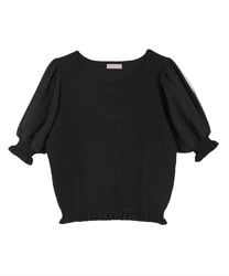 Heart Neck Knit Pullover(Black-Free)