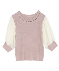 Pearl Design Knit Pullover(Pale pink-Free)