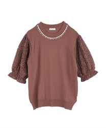 Lace-sleeved Knit Pullover(DarkPink-Free)