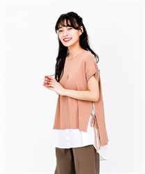 Knit x Shirt Docking Pullover(Orange-Free)
