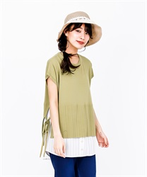 Knit x Shirt Docking Pullover(Green-Free)