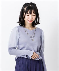 Heart neck bubble sleeve knit pullover(Saxe blue-Free)