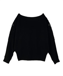 Shoulder lace dolman knit pullover(Black-Free)
