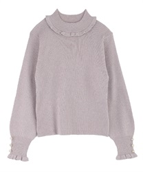 Short Turtleneck Glitter Knit Pullover(Pale pink-M)