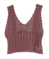 Back Ribbon Knit Bustier(DarkPink-Free)