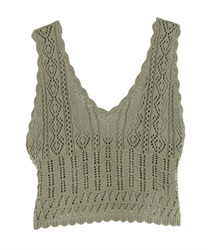 Back Ribbon Knit Bustier(Green-Free)