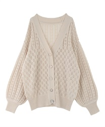 Bijou button transparent middle cardigan(Ecru-Free)