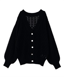 Bijou button transparent middle cardigan(Black-Free)