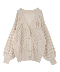 Bijou button transparent middle cardigan