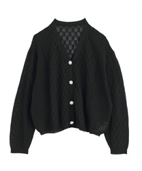 【2Buy20%OFF】Openwork Loose Cardigan(Black-Free)