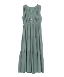 【2Buy20%OFF】Tiered Long Dress(Green-Free)