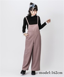 Stripe wide salopette skirt(DarkPink-Free)