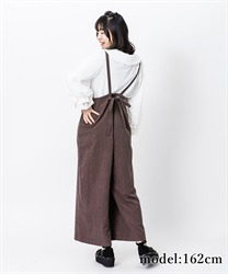 Stripe wide salopette skirt(Brown-Free)