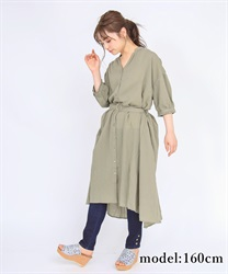 Short-sleeved long shirt(Khaki-Free)