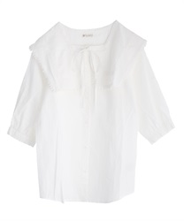 Sailor collar cotton blouse(White-Free)