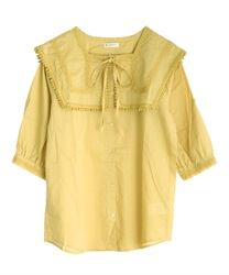 Sailor collar cotton blouse(Yellow-Free)