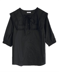 Sailor collar cotton blouse(Black-Free)