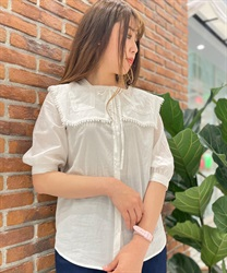 Sailor collar cotton blouse