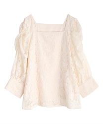 Volume sleeve lacy pullover(Ecru-Free)
