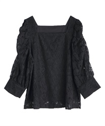 Volume sleeve lacy pullover(Black-Free)