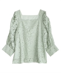 Volume sleeve lacy pullover(Mint Green-Free)