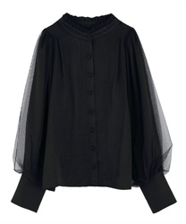 Tulle layered blouse(Black-Free)