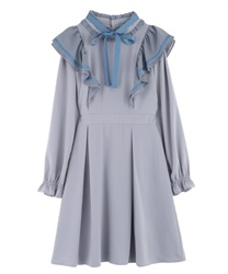 【Uniform price】Ruffle Frill Dress(Grey-Free)