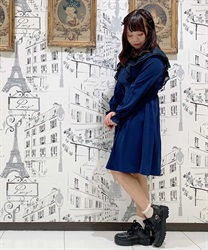 【Uniform price】Ruffle Frill Dress(Navy-Free)