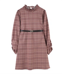 Plaid Shift Dress with Basic Thin Belt(Wine-M)